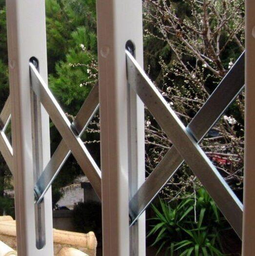Πτυσσόμενη ασφάλεια ανοξείδωτου χάλυβα με επικάλυψη αλουμινίου Τ120, Πτυσσόμενα Κάγκελα Ασφαλείας Τ120
